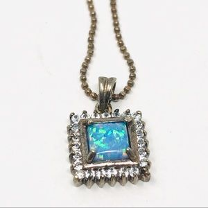 Jewelry - Sterling silver lab boulder opal, beaded chain
